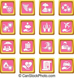 Insurance icons set pink square vector