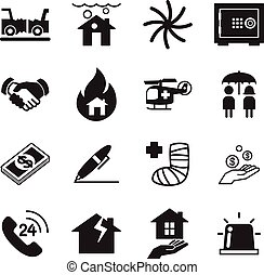 Insurance Icons Vector Illustration Set
