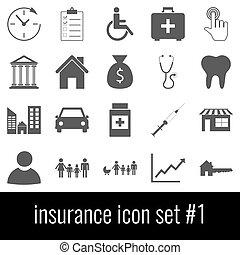 insurance., ikon, sæt, 1., gråne, iconerne, på hvide, baggrund.