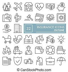 Insurance line icon set, protection symbols collection, vector sketches, logo illustrations, safety signs linear pictograms package isolated on white background, eps 10.
