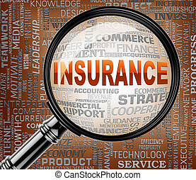 Insurance Magnifier Means Insured Protection 3d Rendering -...