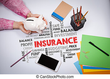 insurance, Money and Profit Concept. Business woman with a piggy bank