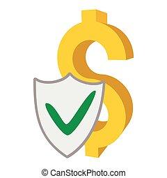 Insurance money icon, cartoon style