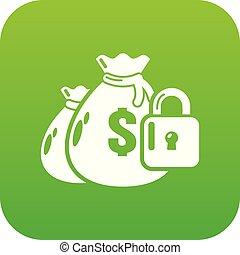 Insurance money icon green vector