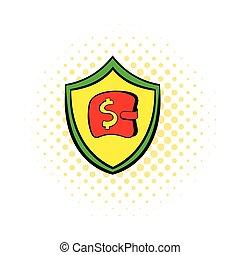 Insurance money icon in comics style