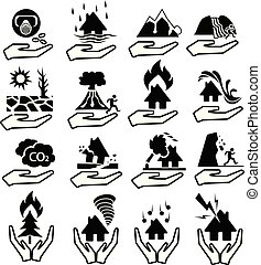 insurance natural disaster icon set