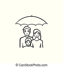 Insurance of family hand drawn sketch icon.