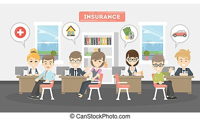 Insurance office illustration. People at insurance service try to save real esttae and car, health and money.