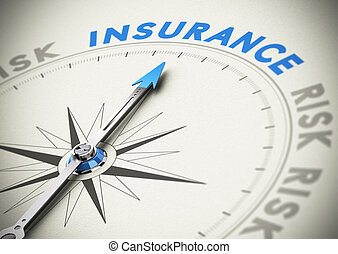 Insurance or Assurance Concept - Compass needle pointing the...