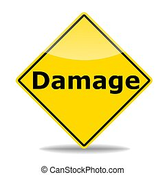 insurance or damage concept with road sign isolated on white...