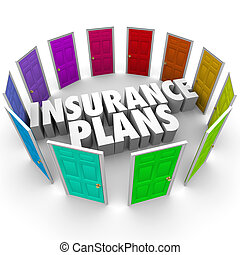 Insurance Plans Many Options Health Care Choices Doors -...