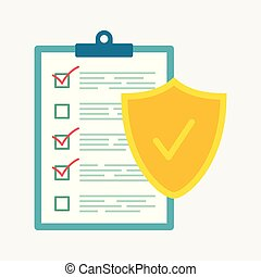 Insurance policy concept, data security, business concept vector illustration