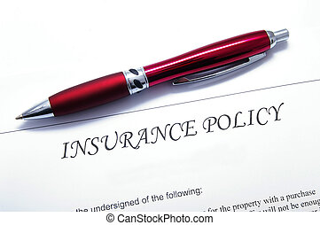 insurance policy document with pen, closeup from above