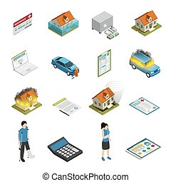 Insurance Policy Isometric Icons Set