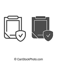 Insurance policy line and glyph icon. Clipboard with shield vector illustration isolated on white. Safety document outline style design, designed for web and app. Eps 10.
