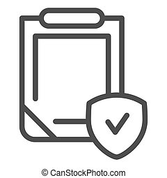 Insurance policy line icon. Clipboard with shield vector illustration isolated on white. Safety document outline style design, designed for web and app. Eps 10.