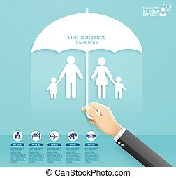 Insurance policy services conceptual design. Hand holding umbrella to protect family paper cut style. Vector Illustrations.