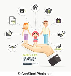 Insurance policy services conceptual design. Hands holding...