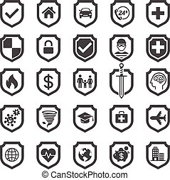 Insurance policy shield icon design. Vector Illustrations.
