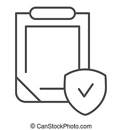 Insurance policy thin line icon. Clipboard with shield vector illustration isolated on white. Safety document outline style design, designed for web and app. Eps 10.