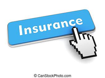 insurance push button concept 3d illustration