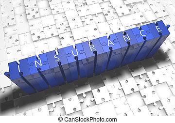 Insurance - puzzle 3d render illustration with block letters on blue jigsaw pieces