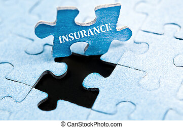 Insurance puzzle - Insurance piece of puzzle stand up