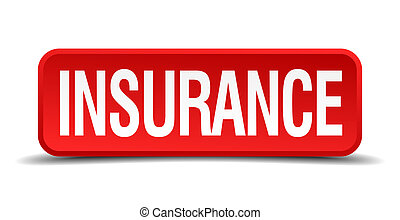 Insurance red 3d square button on white background