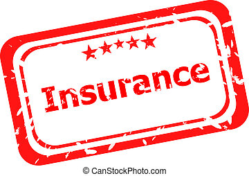 insurance red grunge stamp isolated on white