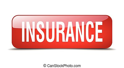 insurance red square 3d realistic isolated web button