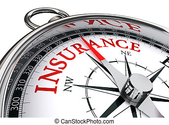 insurance red word on concept compass
