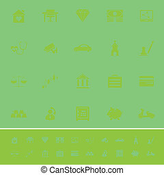 Insurance related color icons on green background