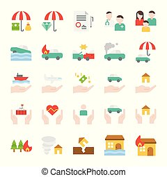 Insurance related vector icon set, flat style