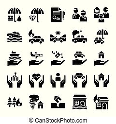 Insurance related vector icon set, solid style
