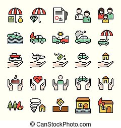 Insurance related vector set, filled style editable stroke icon
