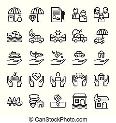 Insurance related vector set, line style editable stroke icon