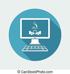 Insurance service - Car crash online document  - Vector flat icon