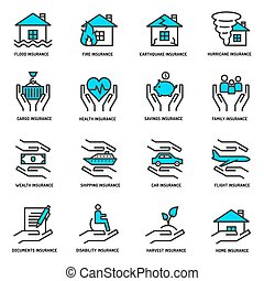 Insurance service outline icons