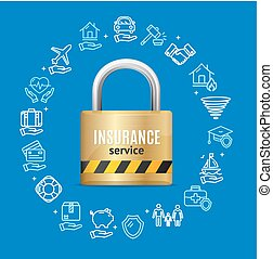 Insurance Service Round Design Template Line Icon Concept. Vector