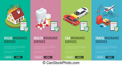 Insurance Services concept - House, Car, Health and Travel insurance services. illustration. Protection from danger, providing security. Vector isometric illustration. Web banners for website.