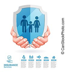 Insurance services conceptual two hands with shield vector illustrations.