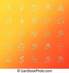 Insurance Services Line Icons Set Blur