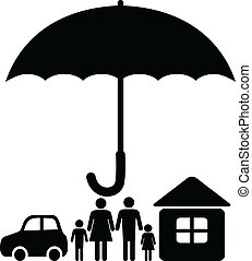 Sign for an insurance company: a huge umbrella covering a family, a home and a car