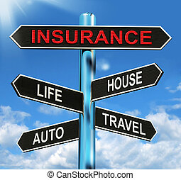 Insurance Signpost Means Life House Auto And Travel -...