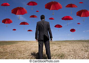 Insurance solution - businessman find the best insurance...