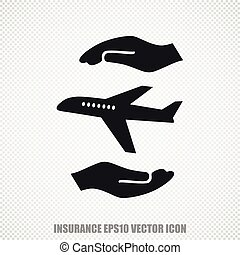 Insurance vector Airplane And Palm icon. Modern flat design.