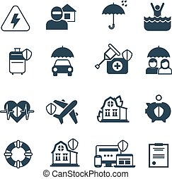 Insurance vector icons. Protection and safety symbols
