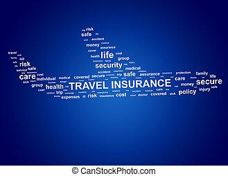 insurance., viaje, tags., nube