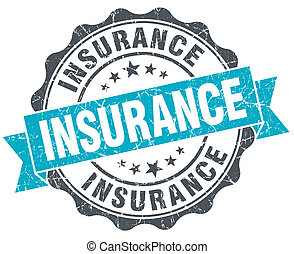 insurance vintage turquoise seal isolated on white