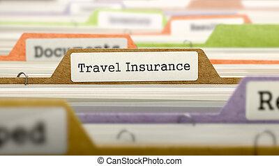 insurance., voyage, dossier, catalogue, marqué